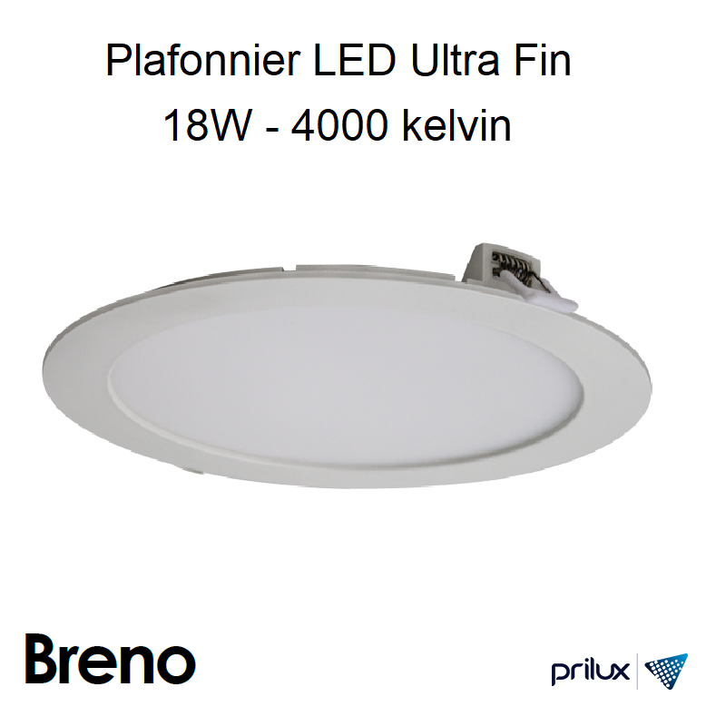 Downlight Ultra Fin BRENO II PC - 18W - 4000 kelvin - BLANC