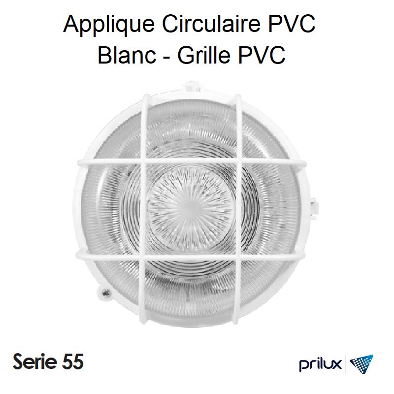 Applique circulaire PVC Blanc grille PVX 013386