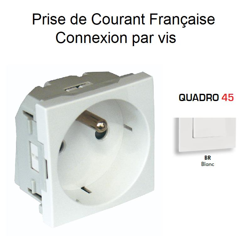 Prise de courant 2P+T avec protection Connexion par vis - Quadro 45 BLANC
