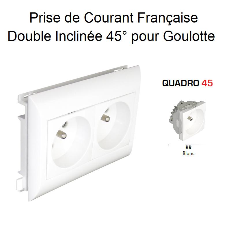 Prise de courant Double précâblée pour goulotte L75mm - Blanc