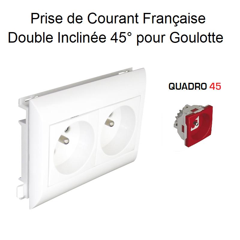 Prise de courant Double précâblée pour goulotte L75mm - Prise Rouge