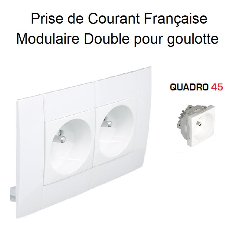 Prise de courant Double Modulaire précâblée pour goulotte L75mm - BLANC