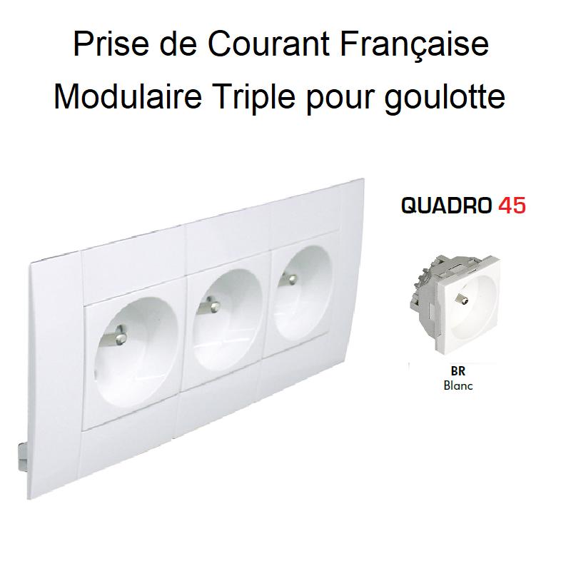 Prise de courant Triple Modulaire précâblée pour goulotte L75mm - BLANC