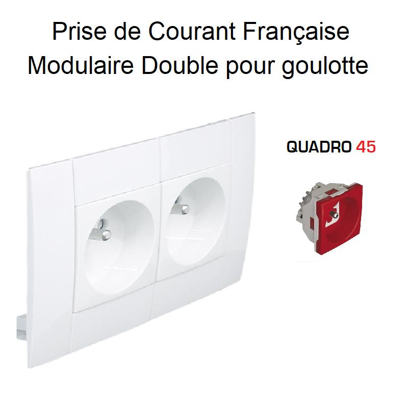 Prise de courant Double Modulaire précâblée pour goulotte L75mm - Prise Rouge