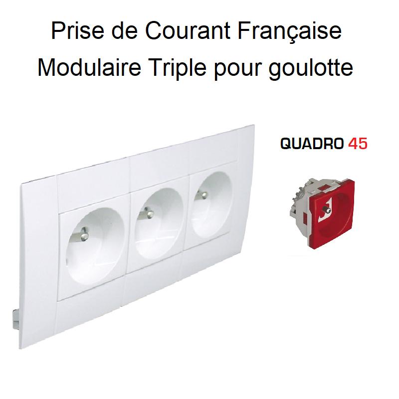 Prise de courant Triple Modulaire précâblée pour goulotte L75mm - Prise Rouge