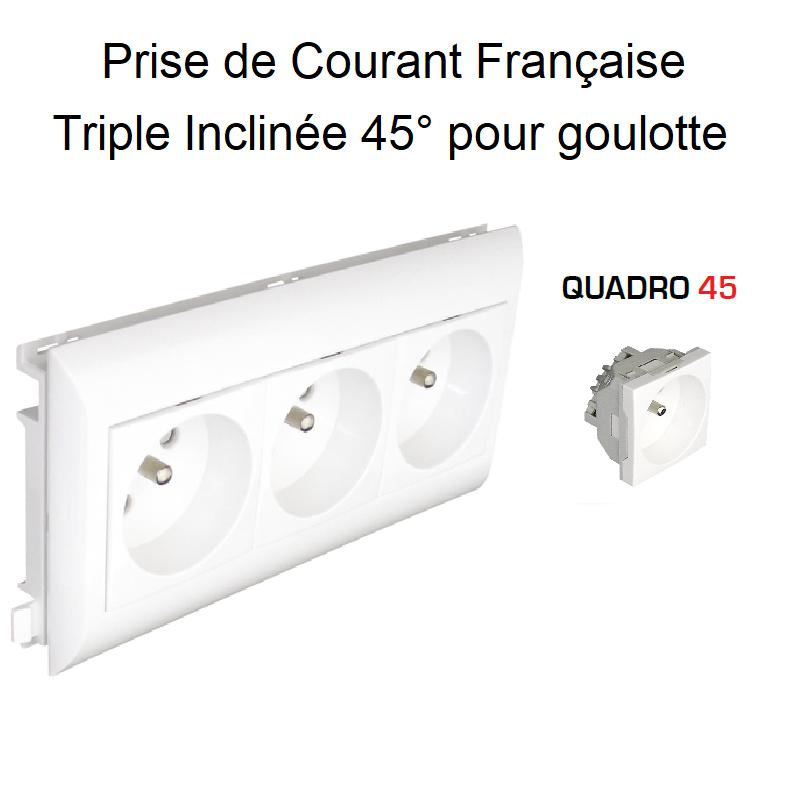 Prise de courant Triple précâblée pour goulotte L75mm - Blanc