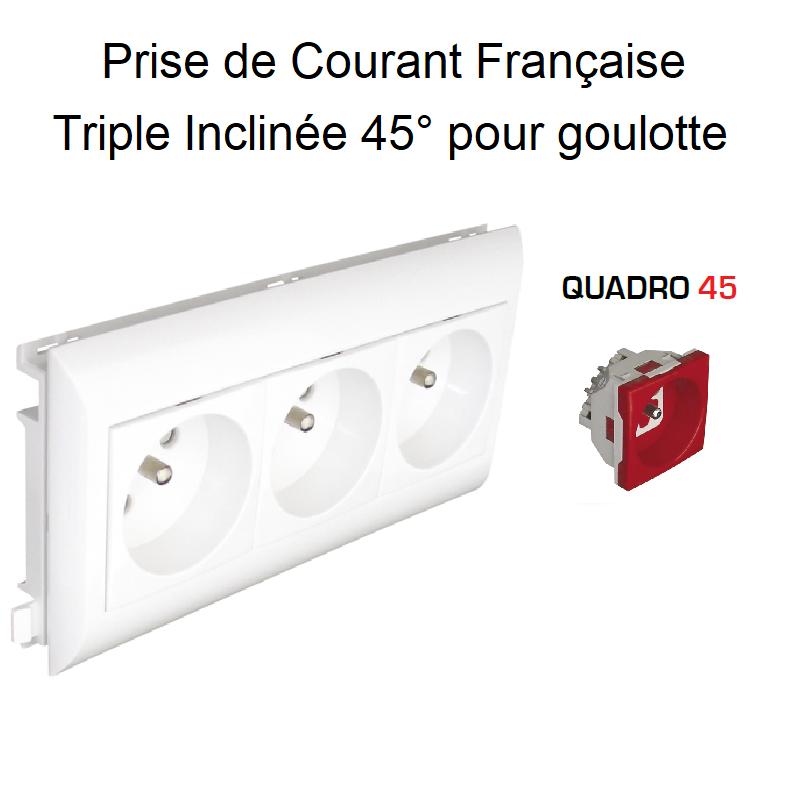 Prise de courant Triple précâblée pour goulotte L75mm - Prise Rouge