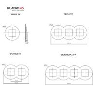 Dimensions plaques quadro45 ronde efapel