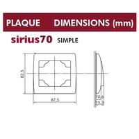 Dimensions plaque simple sirius70 efapel