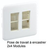 Poste de travail à encastrer - 2 x 4 Modules