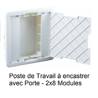 Poste de Travail à Encastrer avec Porte - 2x8 Modules