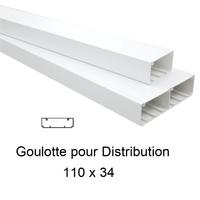 Goulotte de Distribution 110x34mm Blanche - Longueur 2,00m