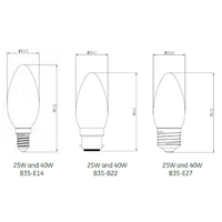 Dimensions lampe LED Flamme de GE-lighting