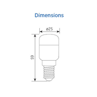 Dimensions ampoule LED Pygmy de GE-lighting