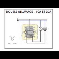 Schéma de montage Interrupteur Double Allumage EFAPEL série Mec21 - 21061 et 21065
