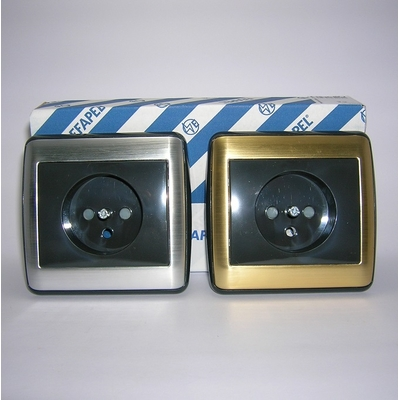 Prise de courant 2P+T sirius70 Métal - Inox ou Or avec enjoliveur anthracite