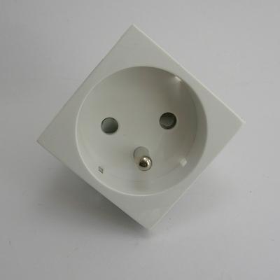 Prise de courant 2P+T Semi-Assemblée - 2 modules - Blanc