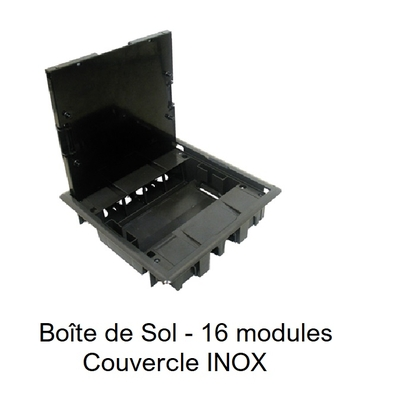 Boîte de Sol avec Couvercle Inox - 16 Modules