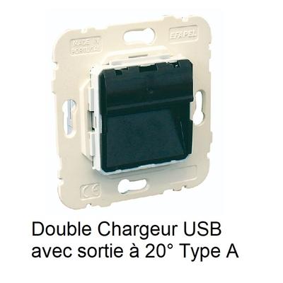 Mécanisme Double Chargeur USB avec Sortie 20° Type A