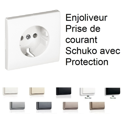 Enjoliveur de Prise de Courant avec Protections Schuko - APOLO5000