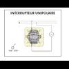 Schéma de montage Interrupteur Unipolaire EFAPEL série Mec21 - 21011