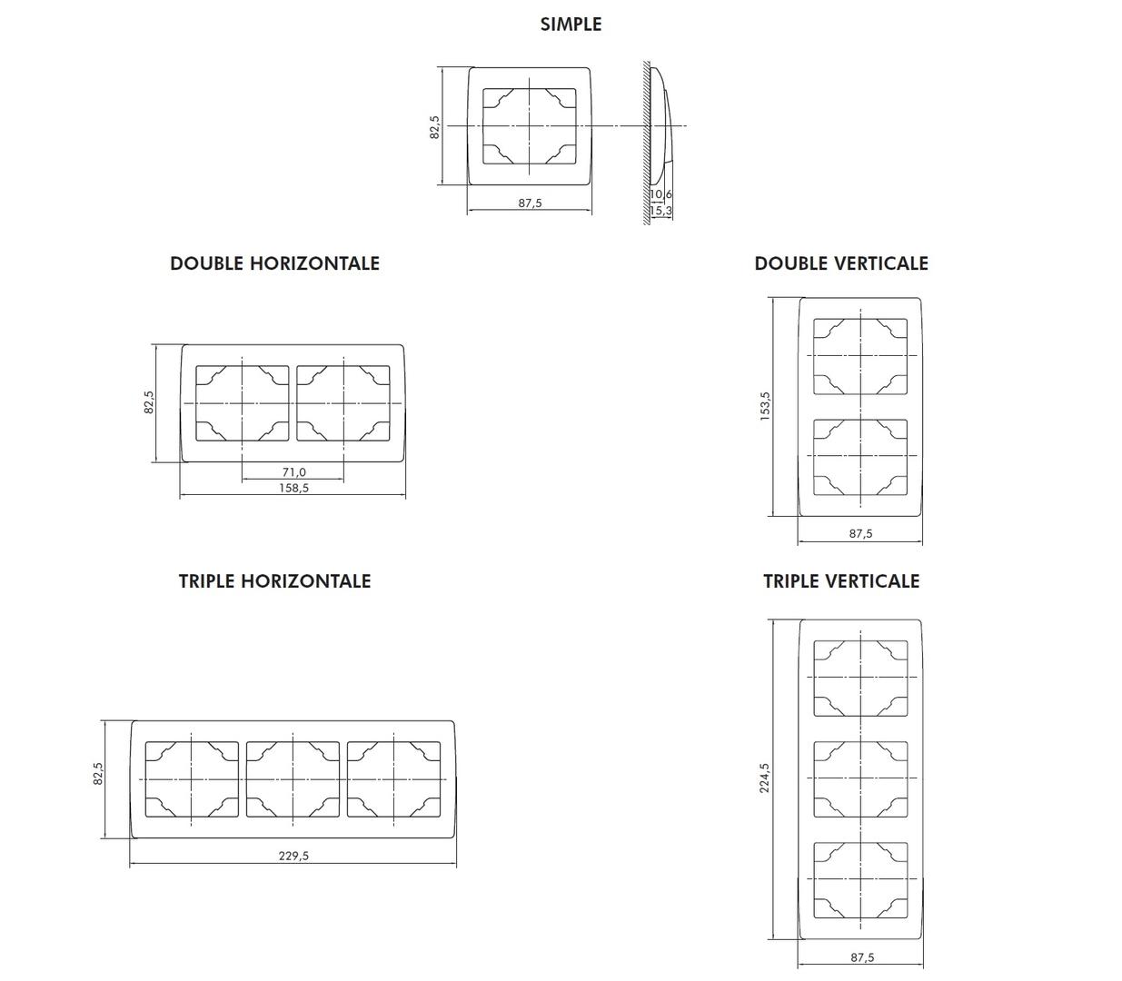 Dimensions plaque simple double et triple sirius70