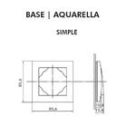 Dimensions plaque Simple Base Aquarella Logus90 efapel 90910