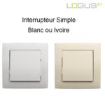 Interrupteur simple base blanc ou ivoire logus90