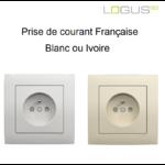 Prise de courant Française base blanc ou ivoire logus90