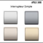 Interrupteur simple Argent graphite Platine ou Champagne Apolo 5000 Metal