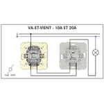 Schéma de montage Interrupteur Va-Et-Vient EFAPEL série Mec21 - 21071 et 21075