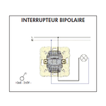 Schéma de montage Interrupteur Bipolaire EFAPEL série Mec21 - 21021