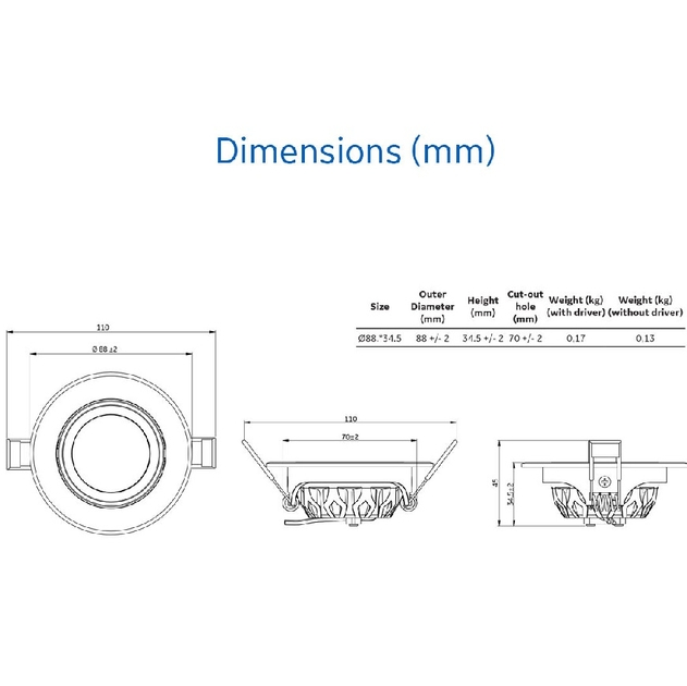 Spotlight general electric dimensions