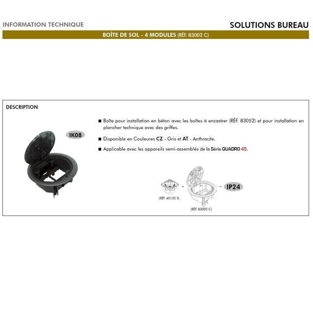 Boite de sol 4 modules 83002C