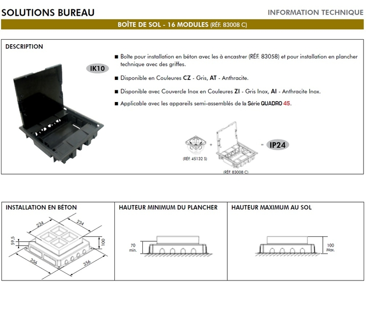 Boite de sol 16 modules 83008Cdescription