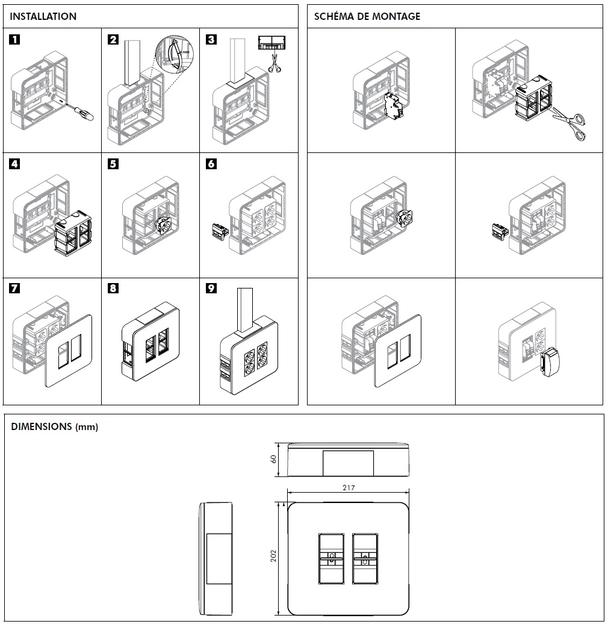 Boite 2x4+4x4 Saillie 83410S dimensions