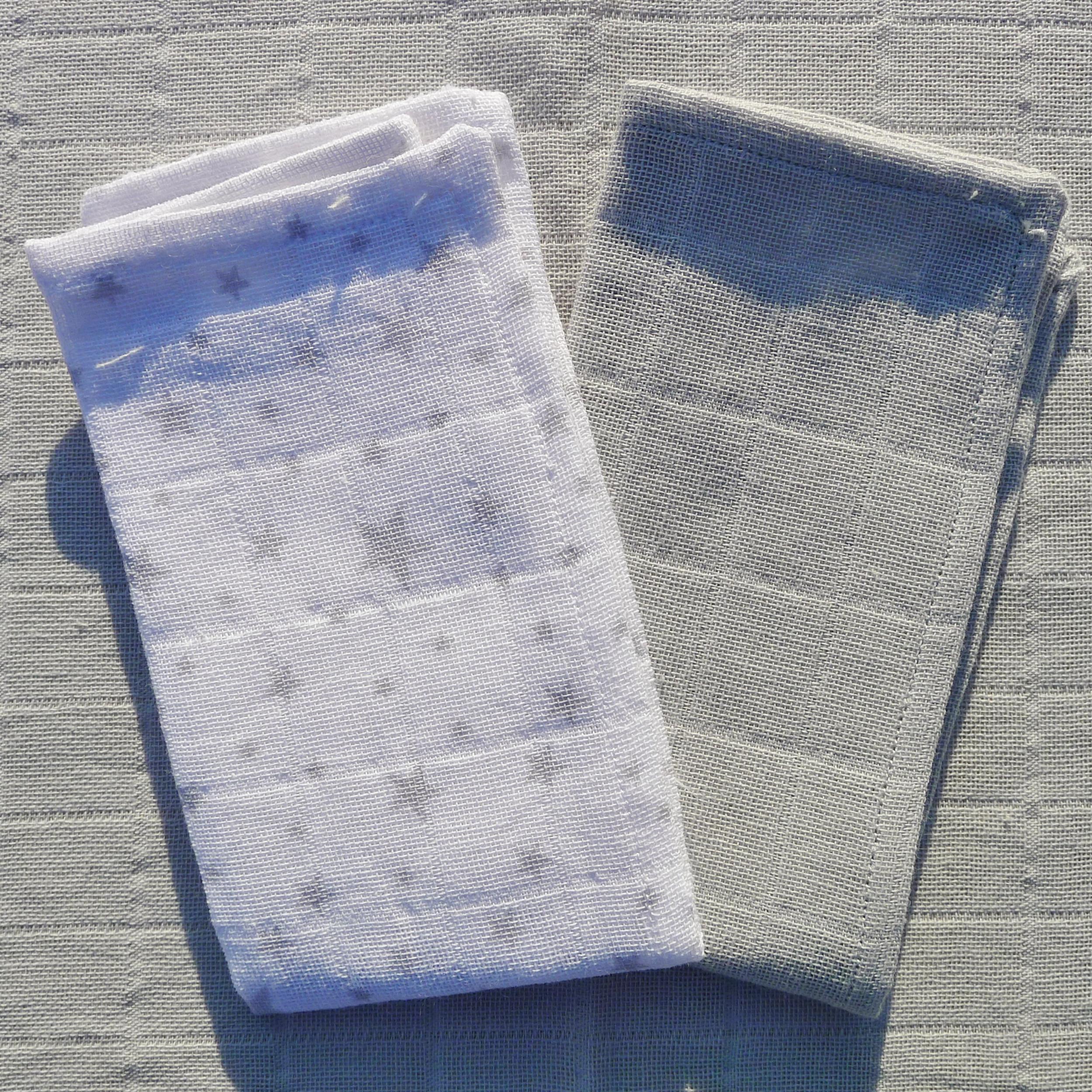 Super remise frais frais juste prix mouchoirs lavables coton bio étoiles et gris uni (lot de 2)