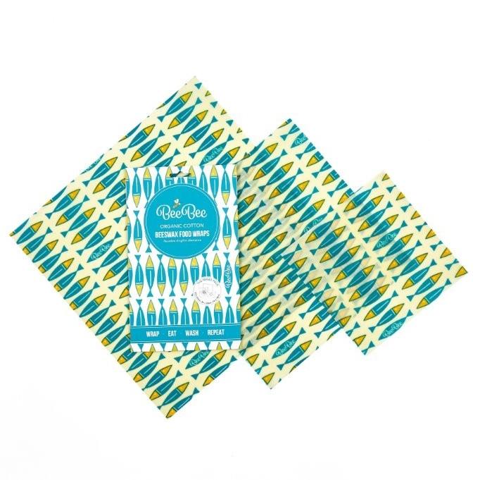 emballage cire d'abeille coton bio sardines (lot de 3)