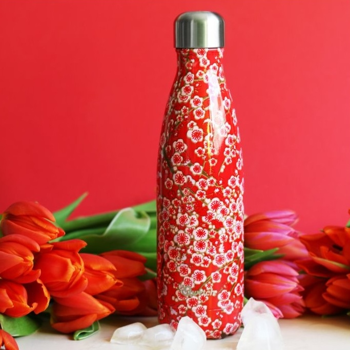 QWETCH bouteille inox isotherme fleurs rouges (2)