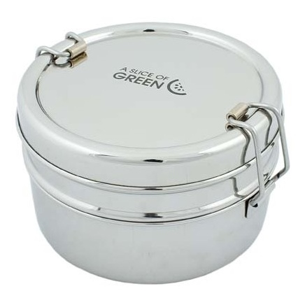 A SLICE OF GREEN Chapra lunch box inox ronde 2 niveaux (800 ml)