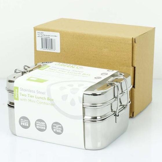 A SLICE OF GREEN Panna lunch box inox 2 niveaux (900 ml)  + une petite boite (4)