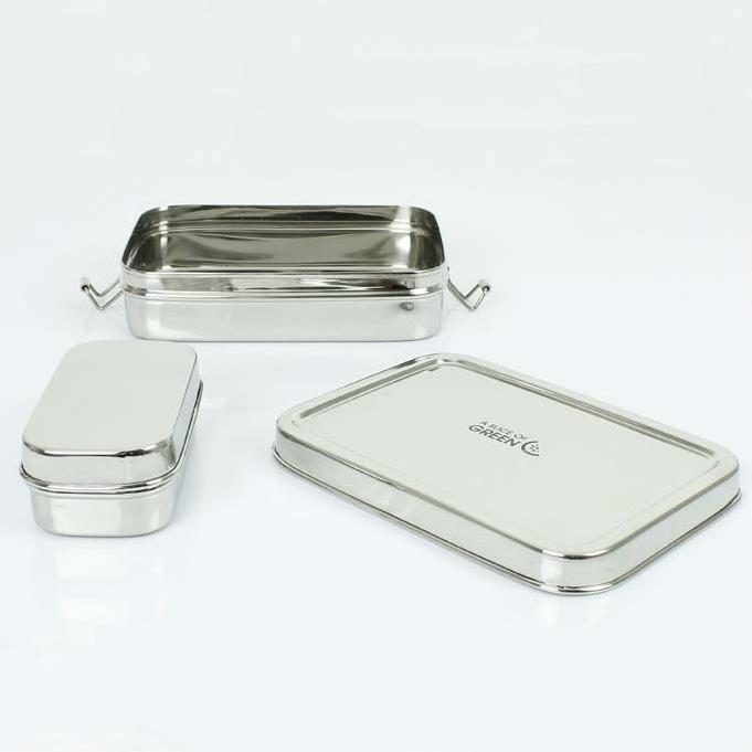 A SLICE OF GREEN Rampur lunch box inox (700 ml)  + une petite boite (2)