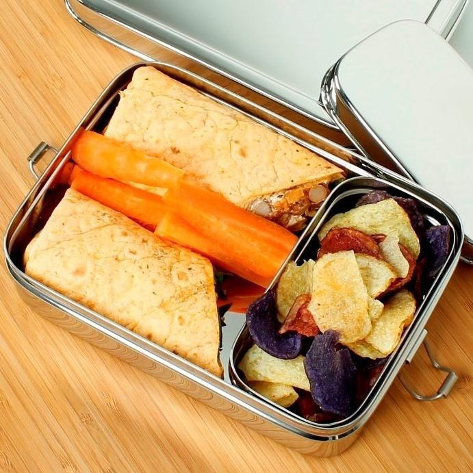 A SLICE OF GREEN Rampur lunch box inox (700 ml)  + une petite boite (4)