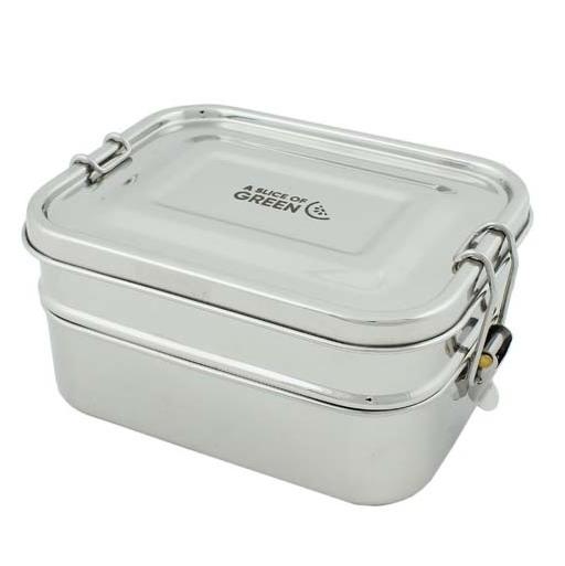 A SLICE OF GREEN Buruni lunch box inox étanche 2 niveaux (1300 ml)