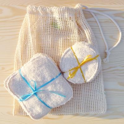 lot de lingettes lavables rondes (10) et carrées (10) + sac filet coton bio
