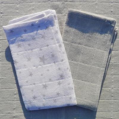 mouchoirs lavables coton bio étoiles et gris uni (lot de 2)
