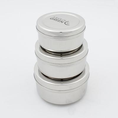 A SLICE OF GREEN boite ronde inox (lot de 3)