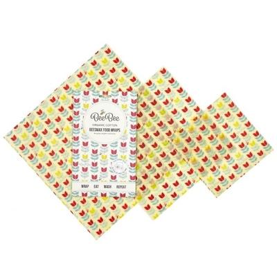 Emballages cire d'abeille - Coton bio tulipes - Lot de 3 différents formats