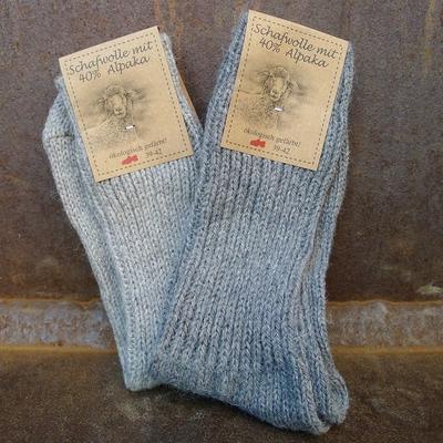 chaussettes laine et alpaga homme gris (lot de 2)