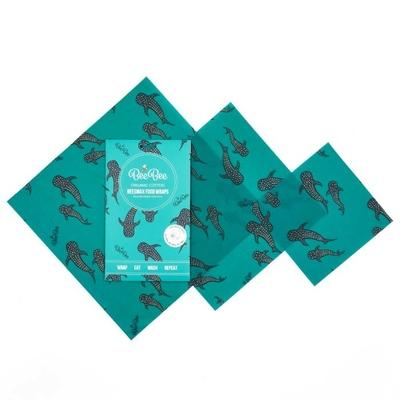 emballage cire d'abeille coton bio baleines (lot de 3)
